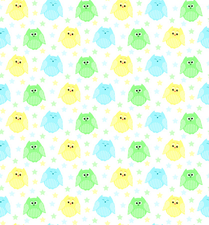 Vector seamless pattern of cute blue, green and yellow owls with stars in the background Illustration