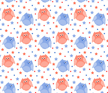 Vector seamless pattern of cute red and blue owls with stars in the background Illustration