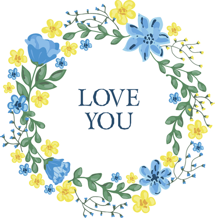 Floral wreath with love you lettering.