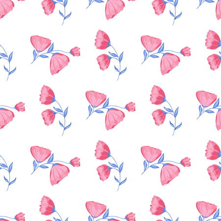 vector seamless pattern of blossoming pink flowers and blue stalks