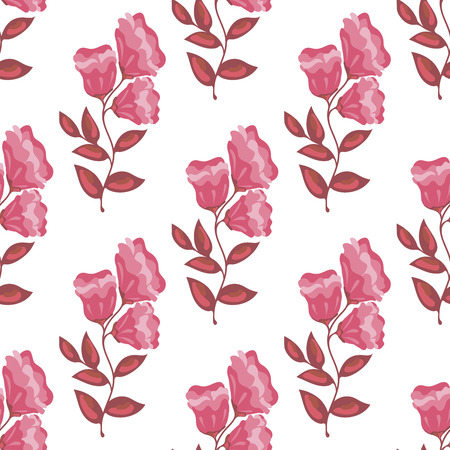 Vector seamless pattern of branch with three roses Illustration