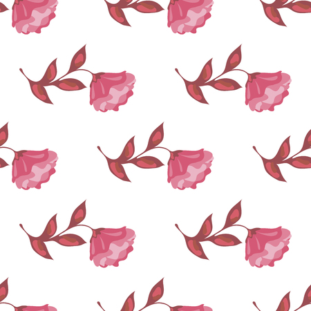 Vector seamless pattern of isolated beautiful pink flower