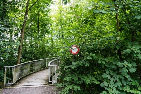 no pase: do not pass stop sign in front of a bridge overgrown Foto de archivo