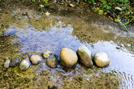 stones lined up in small creek with shallow water