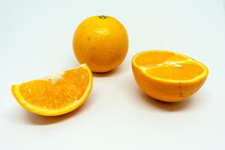Citrus X sinensis Slices of Orange Isolated on White Background