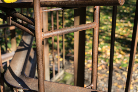 park: abstract view of rusty iron metal construction outdoor in park Stock Photo