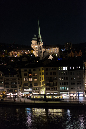 Zurich Switzerland City by night with church and university building