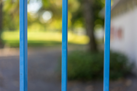 park seen through blue gate in summer abstract view
