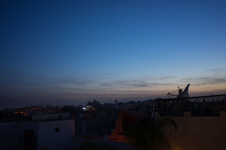 marrakesh or marrakech by night seen from rooftop Stock Photo