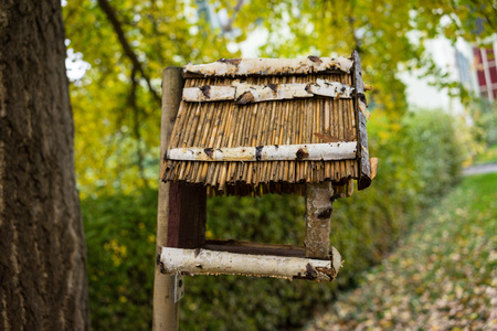bird house out of wood side view Stock Photo