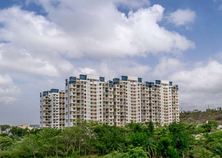 Pune, Maharashtra, India - October 6th, 2018 : High-rise building with beautiful clouds backgroundin a fast  developing city-Pune.