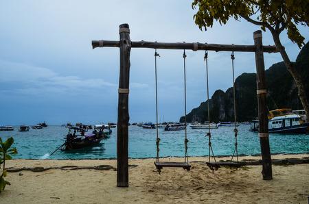 Swings in Phi Phi Island.  One destination in Phi Phi Tour of Krabi, Thailand. Stock Photo
