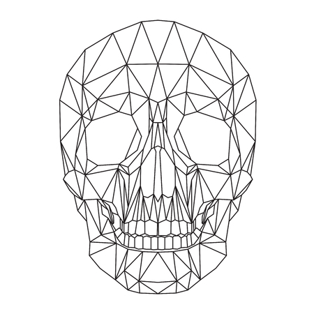 Human skull, geometric abstract black lines design on white background