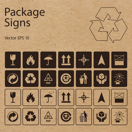 Vector package symbols on craft paper background. Icon set including waste recycling, fragile, flammable, this side up, handle with care and other caution signs, can be used on the box or packaging.