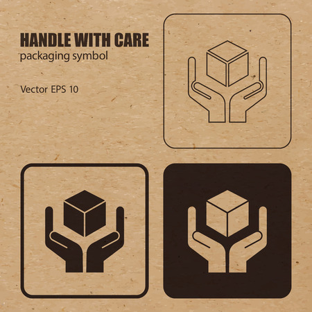 handle with care: Handle with Care vector packaging symbol on vector cardboard background.