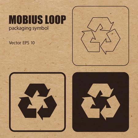 mobius symbol: Mobius Loop vector packaging symbol on vector cardboard background. Illustration