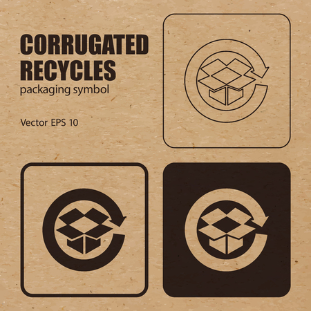 Corrugated Recycles vector packaging symbol on vector cardboard background.
