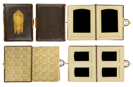 coining: Cover and double pages of vintage photo album (circa 1900) with clasp and brass engraved decoration, isolated on white, contains clipping paths for all elements including photo frames Stock Photo