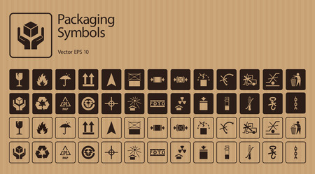 mobius loop: Vector packaging symbols on cardboard background. Icon set including Waste recycling, Fragile, Flammable, This side up, Handle with care, Keep dry, Protect from radiation and other handling symbols.