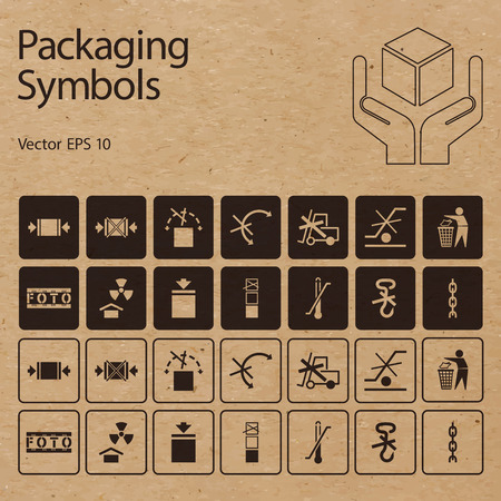 handle with care: Vector packaging symbols on vector cardboard background. Icon set including Dont roll, Protect from radiation, Clamp here, Handle with care and other caution handling symbols.