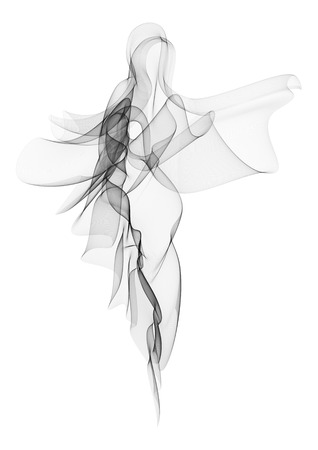 Vector illustration of fluttering airy moire veil folded in a shape of walking or dancing woman silhouette in a long dress.