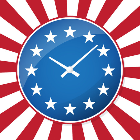 Vector clock face in colors of american flag. Vote USA presidential election badge Иллюстрация