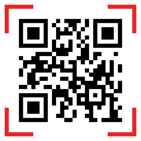 Vector illustration of Qr code sample. Scanned Qr code reads