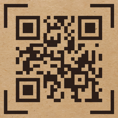 scanned: Vector illustration of Qr code sample on craft paper background. Scanned Qr code reads Scan it!