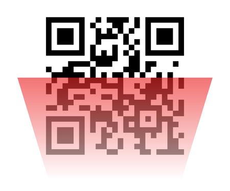 qrcode: Vector illustration of Qr code sample with red laser scanner. Scanned Qr code reads Scan it!