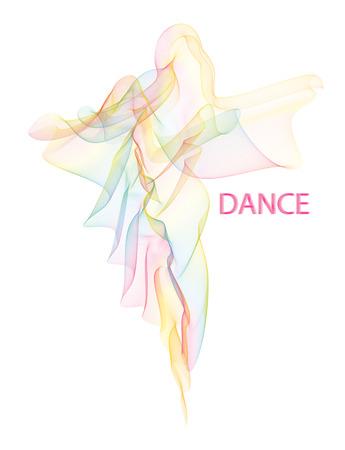 Vector illustratie van fladderende luchtige kleurrijke moiré sluier gevouwen in een vorm van wandelen of dansende vrouw silhouet in een lange jurk.