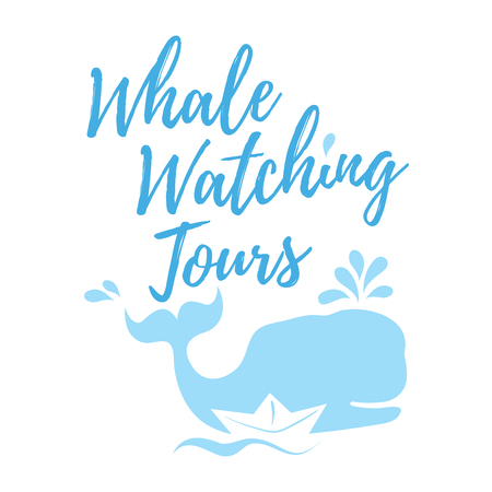 Whale watching tours in handwritten style with text, blue whale silhouette, splashes and paper ship. Vector illustration isolated on white background.