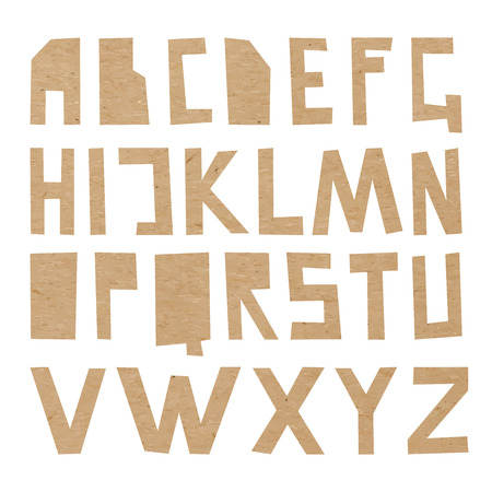 upper case: Vector cardboard ABC. Rough upper case letters cut out of craft paper