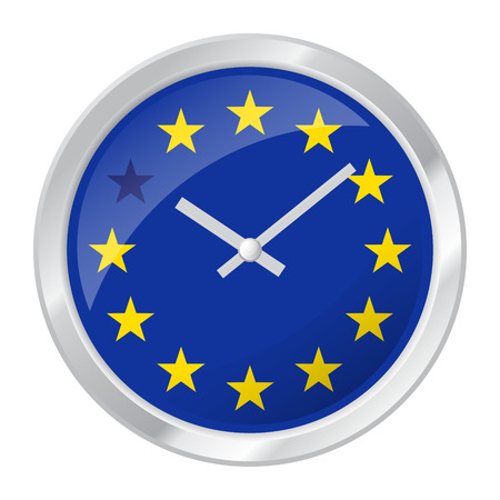 Vector illustration of clock face with EU flag and one star muted symbolizing BREXIT.