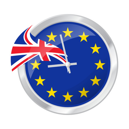 Vector illustration of clock face with EU and UK flags, symbolizing BREXIT. Illustration