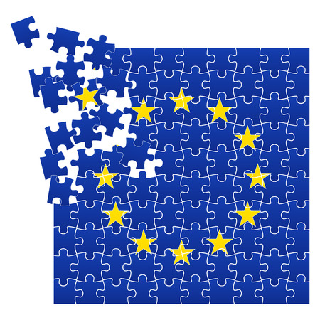Vector illustration of European Union flag divided on jigsaw puzzle pieces with broken left corner with one star, symbolizing BREXIT, EPS 10 Illustration