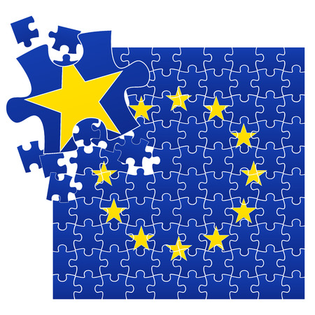 overtake: Vector illustration of European Union flag divided on jigsaw puzzle pieces with broken left corner with one star, symbolizing BREXIT.