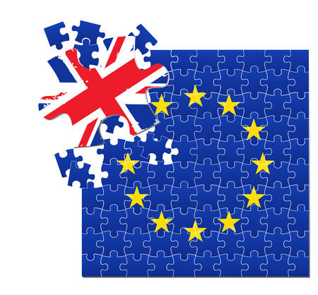 Vector illustration of European Union flag divided into jigsaw puzzle pieces with separated part colored with UK flag, symbolizing BREXIT. Illustration