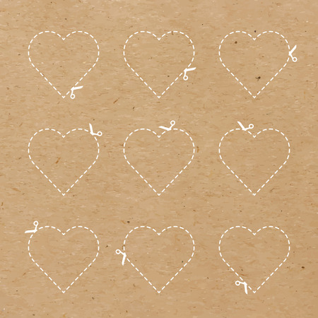 cut outs: Craft paper hearts cut outs Illustration