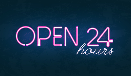 Vector illustration of Open 24 hours glowing neon light street sign on dark textured background