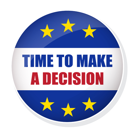 Vector EU EXIT badge. Time to make a decision pin button Illustration