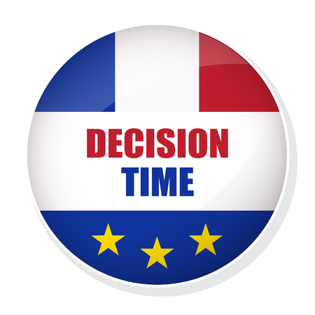 Vector FREXIT badge. Decision Time pin button