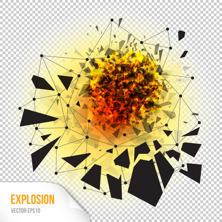 smithereens: Vector illustration of abstract explosion with sharp debris, fireball and scattering pieces of black triangle, isolated on transparent background Illustration