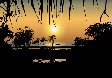 Vector illustration of tropical sunset on the sea shore with with mangrove trees