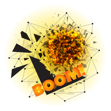 smithereens: Vector illustration of abstract explosion with sharp debris, fireball and scattering pieces of black triangle with BOOM incription that can be easily removed. Isolated on white background