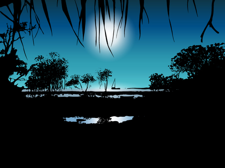 Vector illustration of tropical moon night on the sea shore with mangrove trees Stock Illustratie