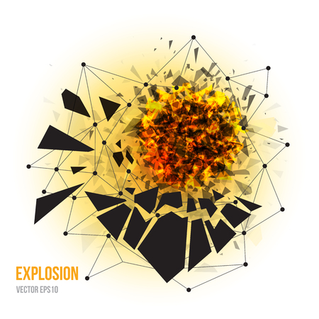 smithereens: Vector illustration of abstract explosion with sharp debris, fireball and scattering pieces of black triangle isolated on white background. Text can be removed