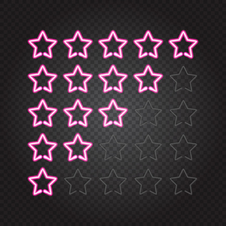 Vector illustration of glowing pink neon lights 5 stars rating on dark transparent background. Isolated objects, easy to change global colors and place on any background, EPS 10