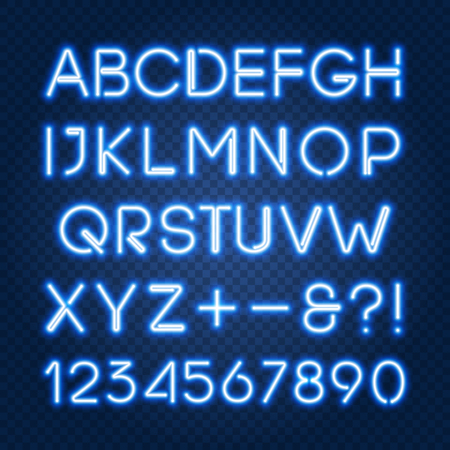 Glowing blue neon lights alphabet with capital letters and numbers. Isolated objects abc, typeset, font, uppercase characters, easy to change color and place on any dark background, vector EPS 10