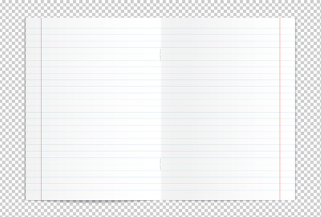 Vector illustration of realistic blank lined copy book spread isolated on transparent background Illustration