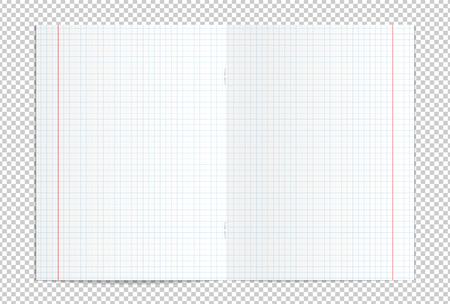 Vectorillustratie van realistische lege gecontroleerde uitgespreid exemplaarboek geïsoleerd op transparante achtergrond Stock Illustratie